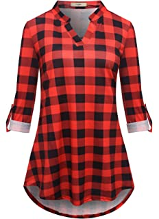 aea0c91584b6 Luranee Women 3/4 Roll Sleeve Shirts Notch V Neck Flowy Plaid Tunic Blouses