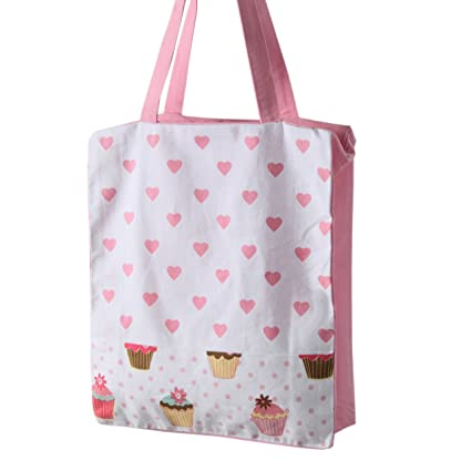 Homescapes Pink White Cotton Large Designer Tote Bag with Zipper & Internal Pockets Pink Hearts & Cup Cakes Design Shopping or Shoulder Bag 27 x 32 x 11 cm Shoes & Bags Totes