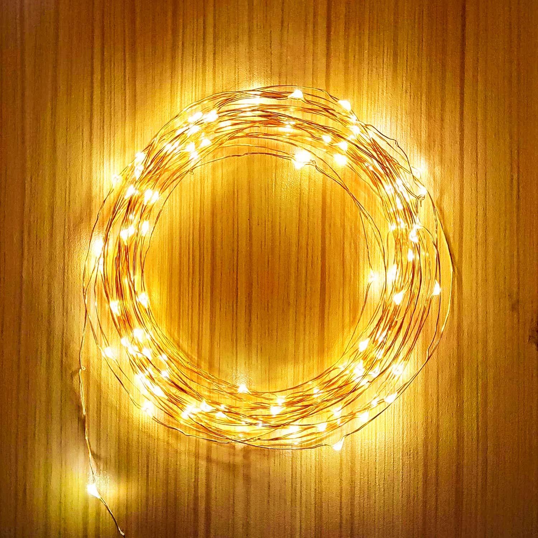 Solar Lichterkette, Abree 33ft 100 LED Kupferdraht Lichterketten, Solar Kupferdraht Lichterkette Warmweiß 2 Modi IP65 Wasserdichte Innen Außen Deko Lichter für Weihnachten Partys Garten Hochzeiten Halloween Aussen Dekoration