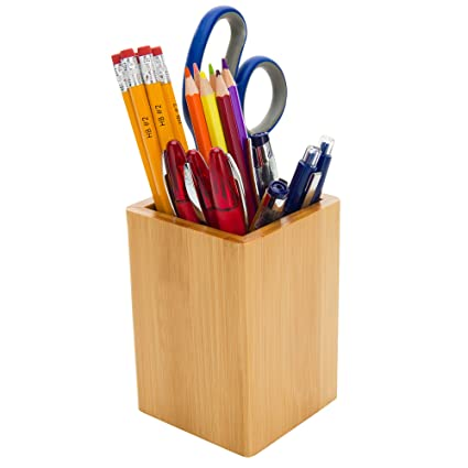Bamboo Wood Desk Pen Pencil Holder Cup Stand, Square Creative Small  Stationery Storage Box Office