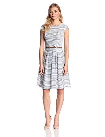 Anne Klein Women's Newport Stripe Day Dress, Cream/Navy, 2
