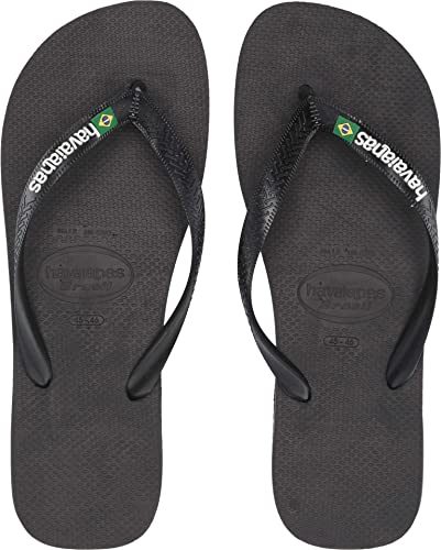 eabeab6a042d68 Image Unavailable. Image not available for. Color  Havaianas Men s Brazil  Logo Flip Flops Black Black ...