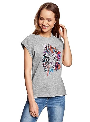 oodji Ultra Donna T-Shirt in Cotone con Stampa Senza Etichetta con Orlo Grezzo