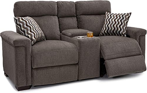 Seatcraft Hawke Home Theater Seating Performance Fabric Power Recline Loveseat with Adjustable Powered Headrests, Center Storage Console with Cup Holders, Matching Pillows, Jasper Tan
