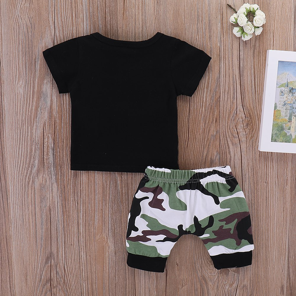 Summer 2 Piece Sets Baby Boy Short Sleeve T-Shirt Camouflage Pants Casual Clothes Outfits