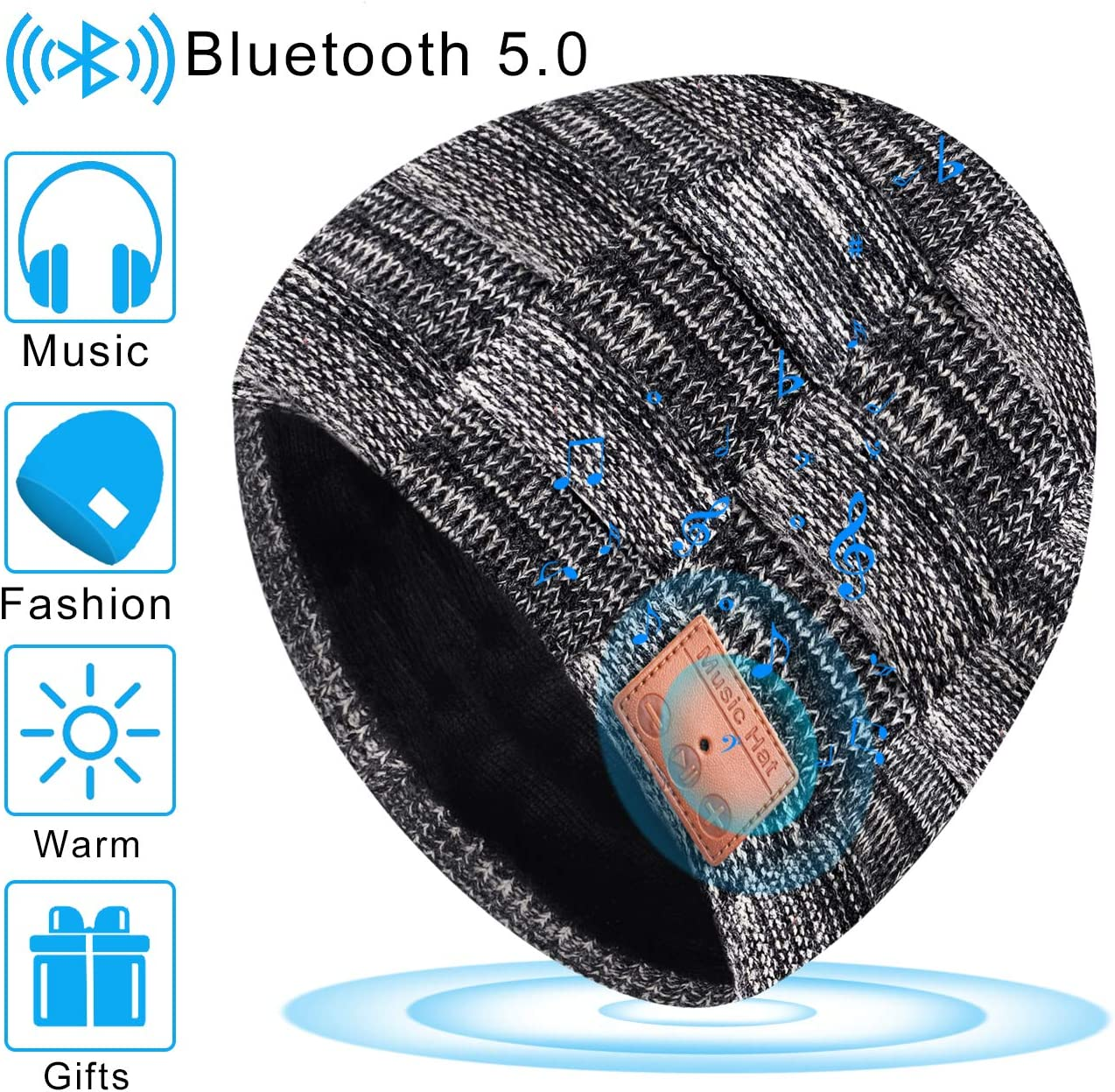 Bluetooth Beanie Hat V5.0 Winter Warm Washable Knit Cap Unique Unisex Gifts for Men Women Built-in Detachable HD Stereo Speakers Microphone