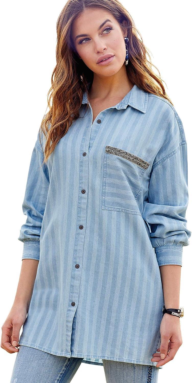VENCA Camisa Oversize Botones Met�licos Mujer - 032225, Azul, 3XL: Amazon.es: Ropa y accesorios