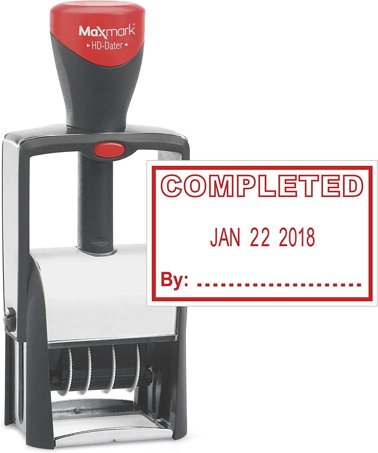 Heavy Duty Date Stamp with Completed Self Inking Stamp - RED Ink)