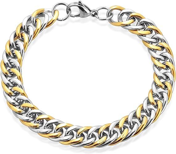MENDINO Men/'s Stainless Steel Bracelet Curb Cuban Chain Link Silver 8mm-12mm