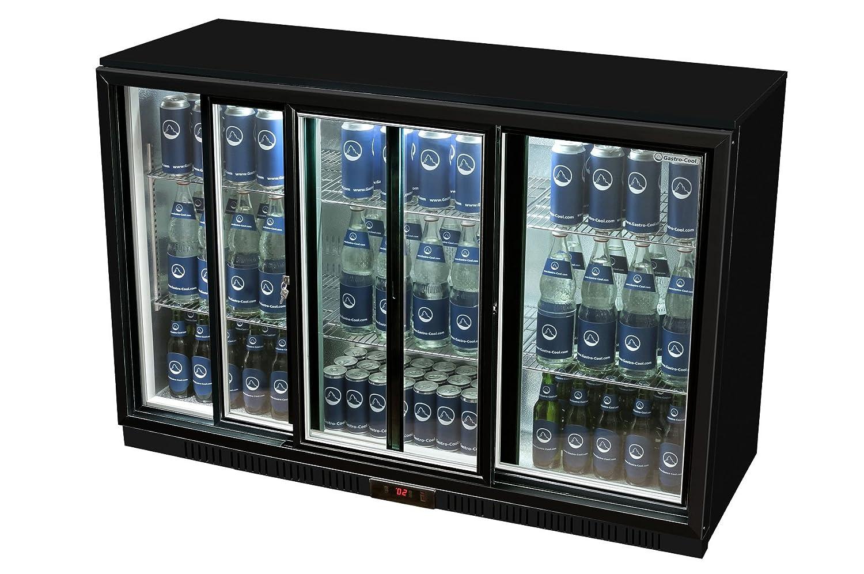 Glastür-Kühlschrank 90 x 135 x 52 cm silber | Getränkekühlschrank ...