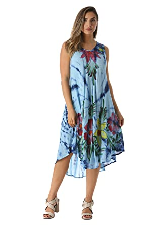 5ac2b781b4 Riviera Sun Tie Dye Summer Dress with Floral Hand Painted Design at Amazon  Women's Clothing store: