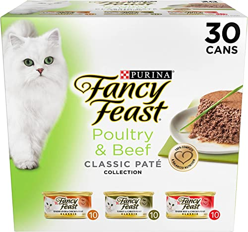 Purina Fancy Feast Classic Gourmet Variety Pack Wet Cat Food 30 – 3 Oz Cans of Poultry Beef Variety Pack