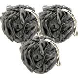 MainBasics Activated Charcoal Infused Bath Shower Loofah Sponge Pouf Body Scrubber Exfoliator (Set of 3)