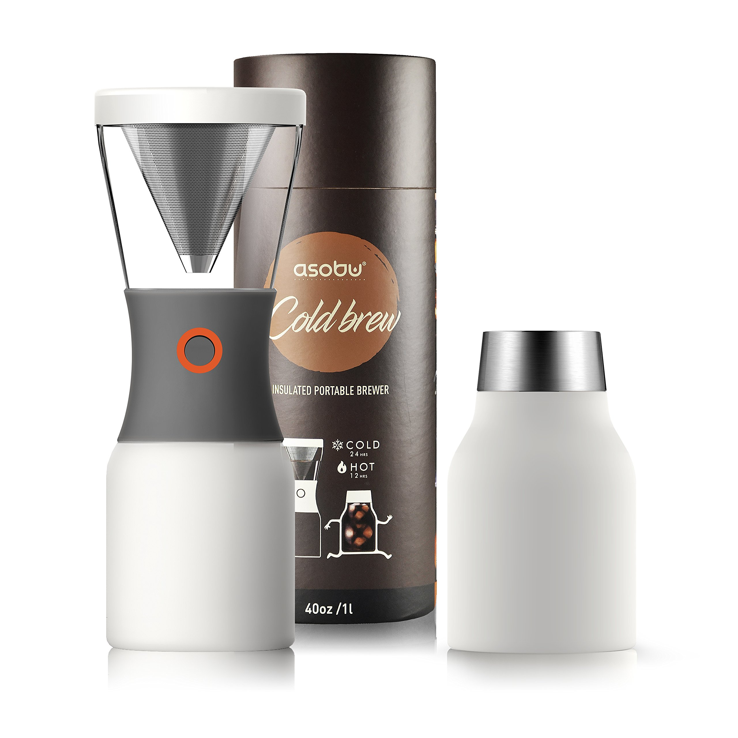 Asobu Coldbrew Portable Cold Brew Coffee Maker With a Vacuum Insulated 40oz Stainless Steel 18/8 Carafe Bpa Free (White) by Asobu