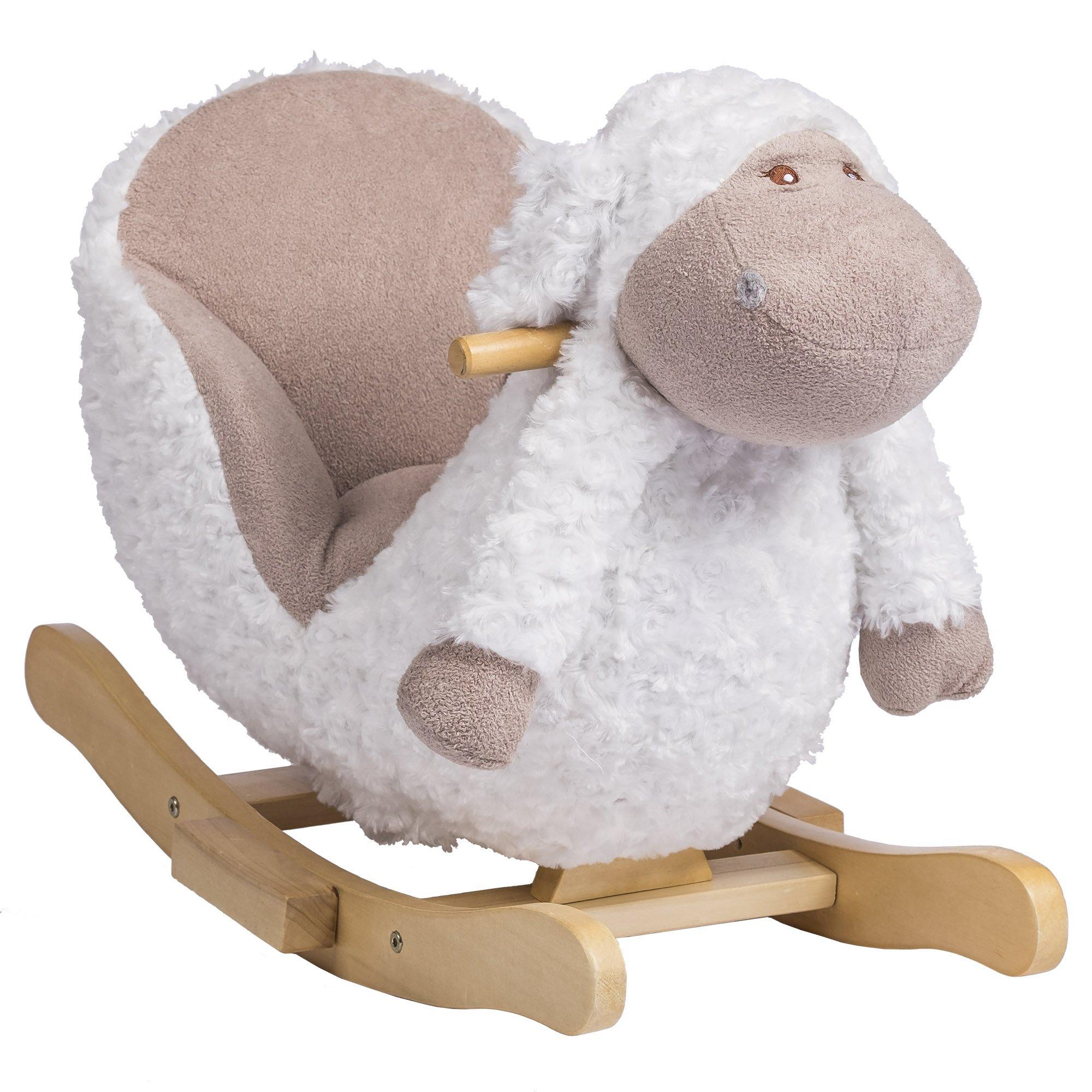 Rockin' Rider Bashful The Lamb Baby Rocker Plush Ride-On, White