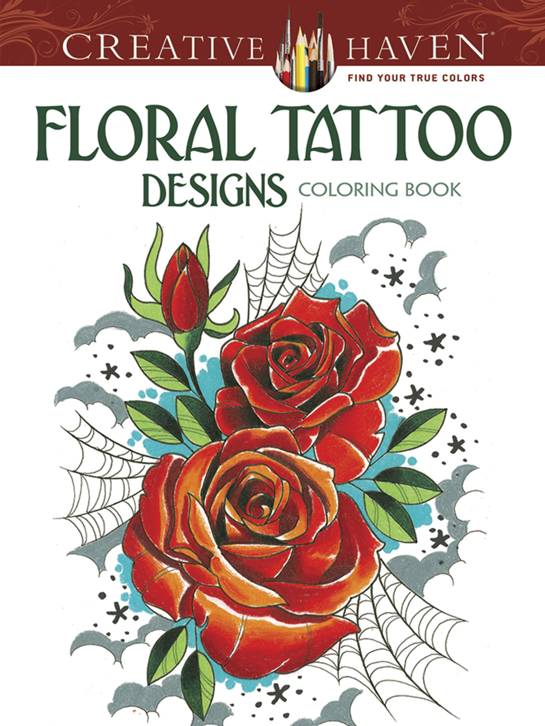 Amazon.com: Creative Haven Floral Tattoo Designs Coloring Book ...
