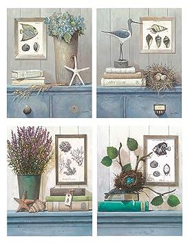 DcineLot de 4 tableaux pour salles de bain 19 x 25 cm: Amazon.fr ...