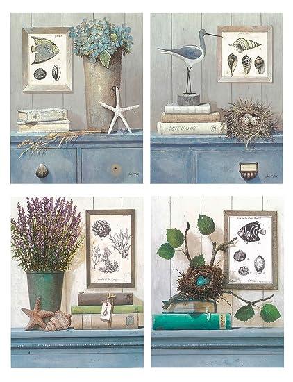 DcineLot de 4 tableaux pour salles de bain 19 x 25 cm ...