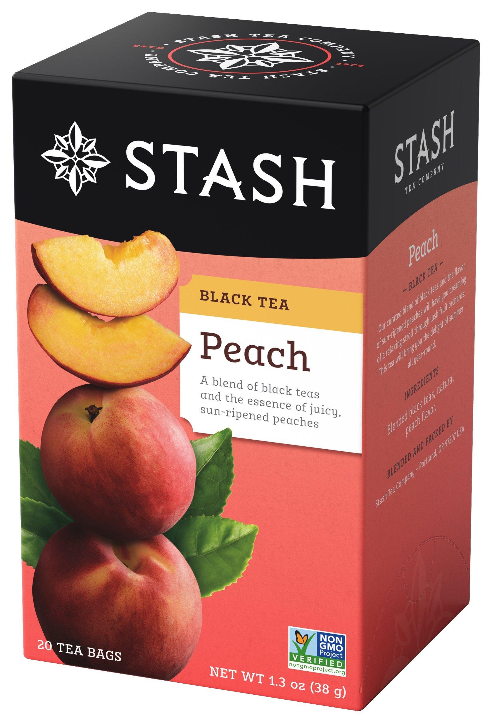 Stash Tea Peach Black Tea 20 Count Tea Bags in Foil (Pack of 6) Individual Black Tea Bags for Use in Teapots Mugs or Cups, Brew Hot Tea or Iced Tea