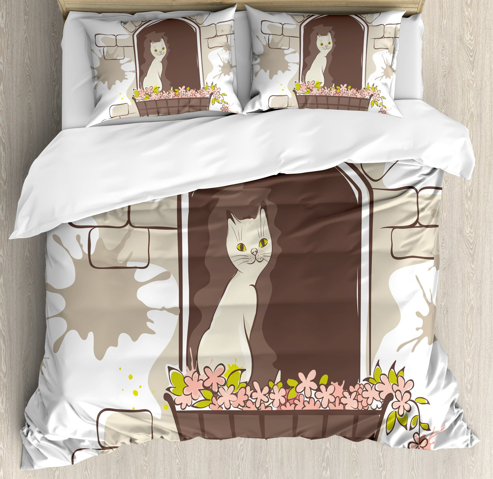 Landscape Duvet Cover Set by Ambesonne, Cartoon Animal Cat Pet Smile Positive Morning Apartment Window Artwork, 3 Piece Bedding Set with Pillow Shams, King Size, Umber Black and White