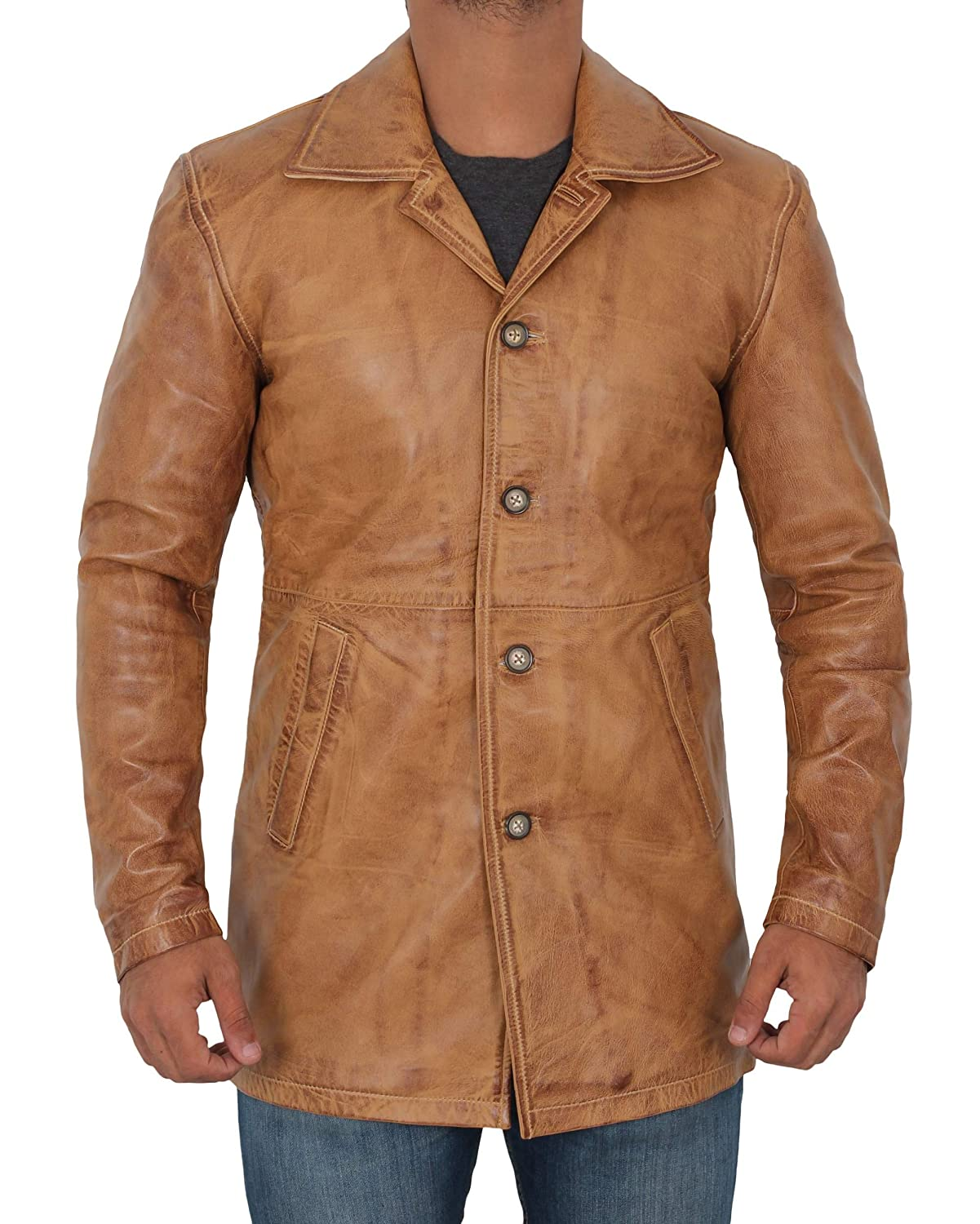 52f82ad8c Distressed Leather Jacket Men - Genuine Lambskin Leather Coats for Men