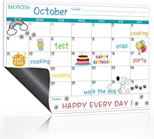"Magnetic Dry Erase Fridge Calendar - Magnetic Calendar for Refrigerator Planners, Fridge Magnetic Calendar with Notes, Kitchen Fridge Calendar White Board in Monthly & Weekly Set, 11.8"" x 17"""