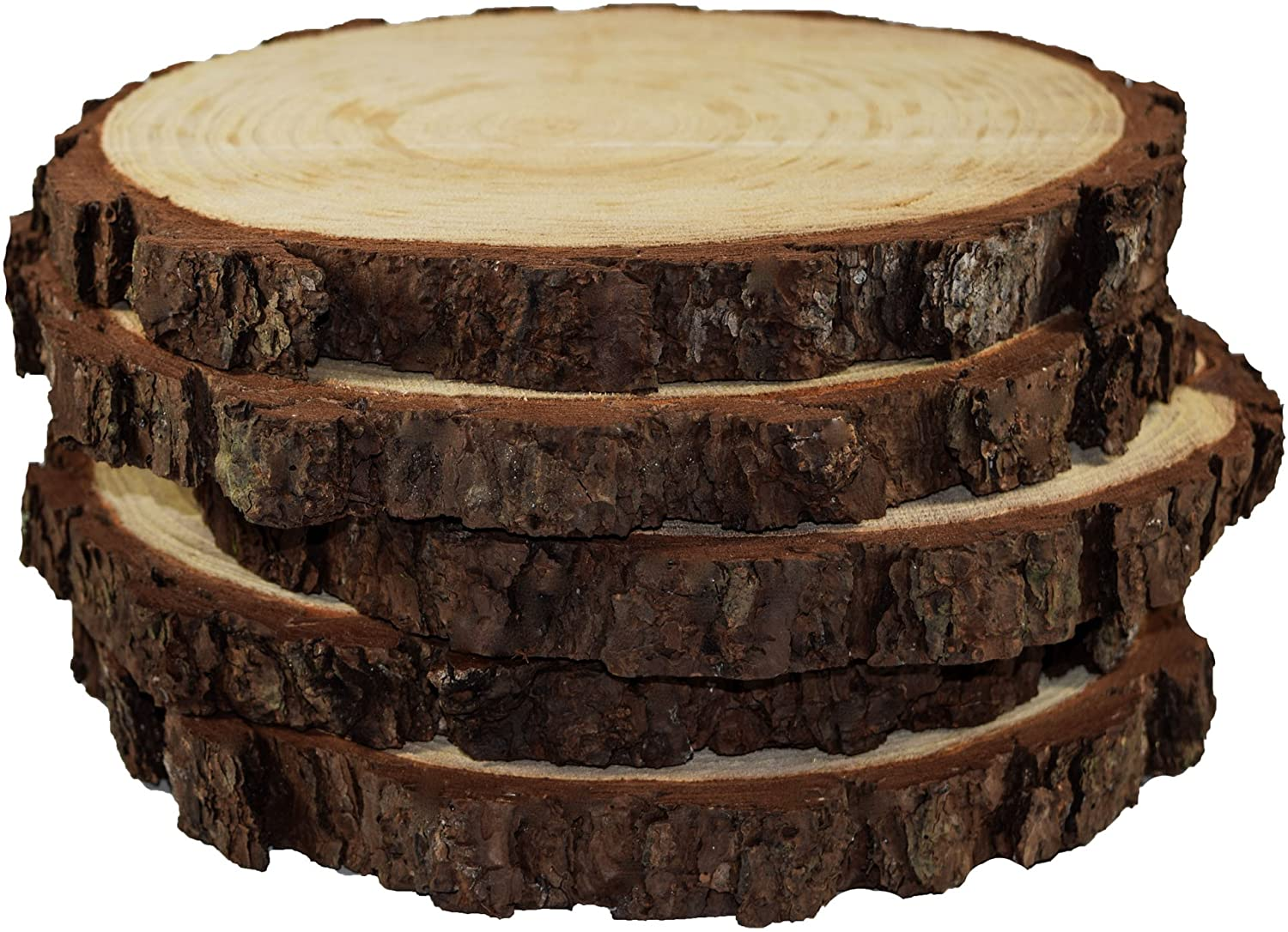 "5 Pack Round Rustic Woods Slices, 9""-12"", Unfinished Wood, Great for Weddings Centerpieces, Crafts"