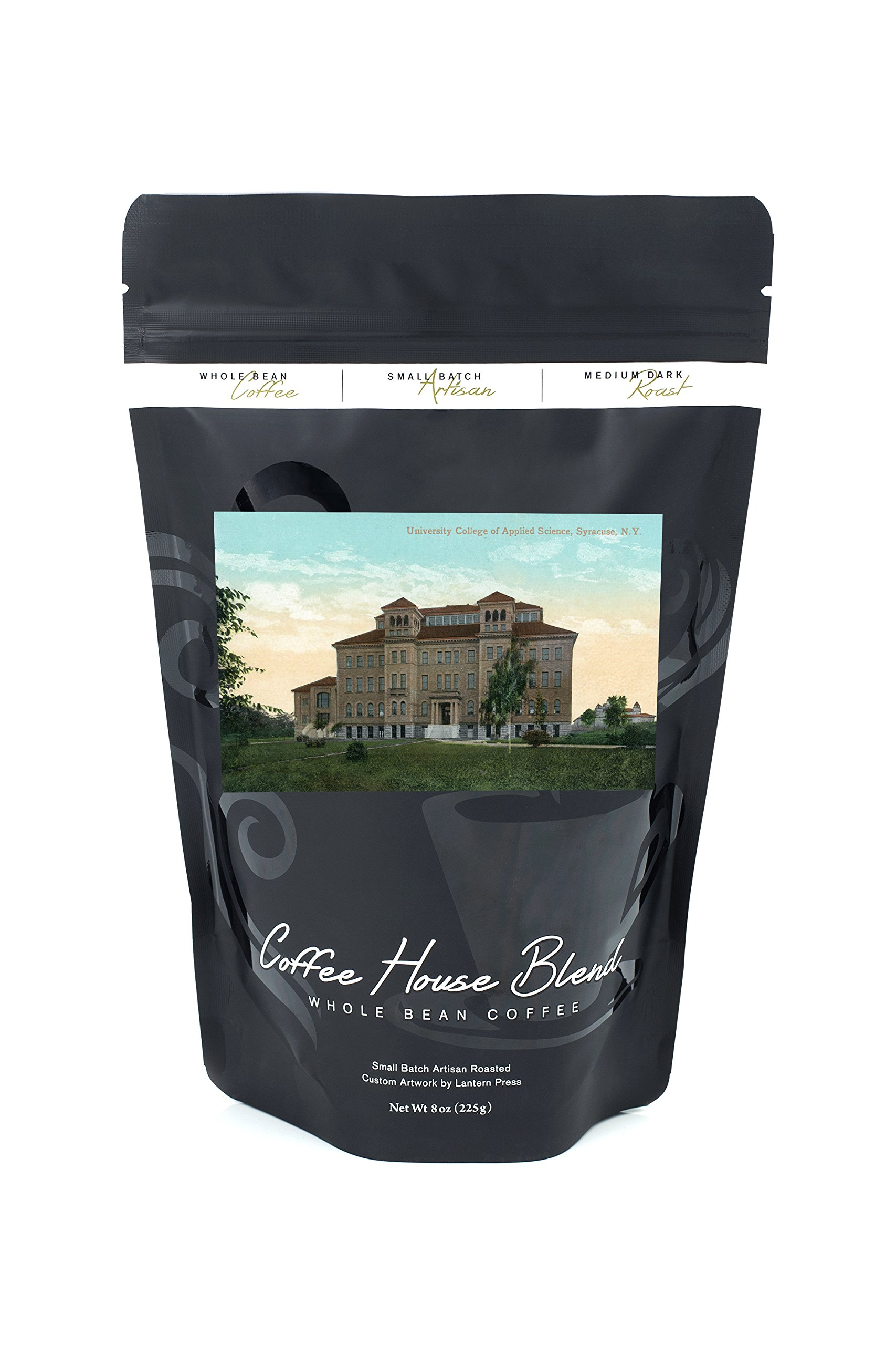 Syracuse, New York - Syracuse University; College of Applied Sciences View (8oz Whole Bean Small Batch Artisan Coffee - Bold & Strong Medium Dark Roast w/Artwork)