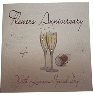 White cotton cards gl106 teddy bears special little son happy 1st white cotton cards wa4 champagne glases flowers anniversay handmade 4th anniversary card white bookmarktalkfo Images