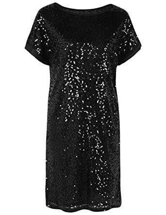db3c61ae4f20 PrettyGuide Women's Sequin Dress Loose Glitter Dolman Sleeve Party Gown  Club Dress S Black