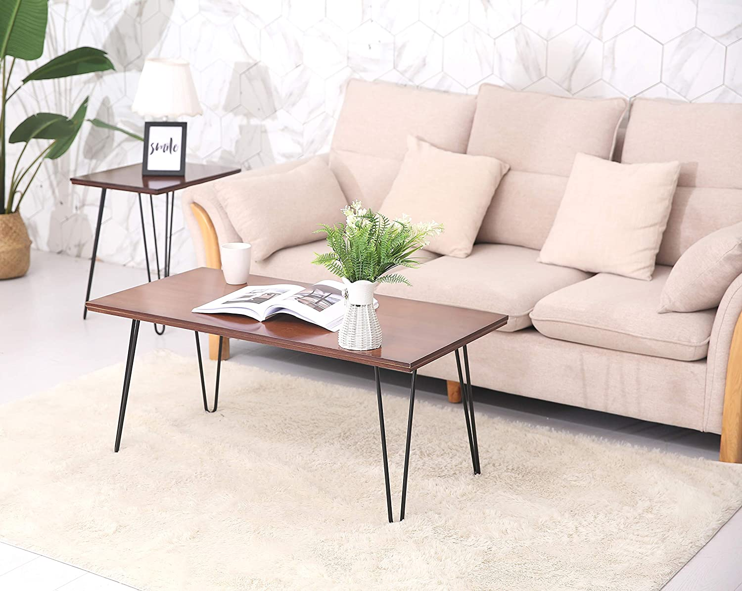 UNICOO Hairpin Wood and Metal End Table, Hairpin Coffee Table, Hairpin End Table, Sofa Side Table for Living Room, Solid Wooden Table Top with Metal Legs End Table