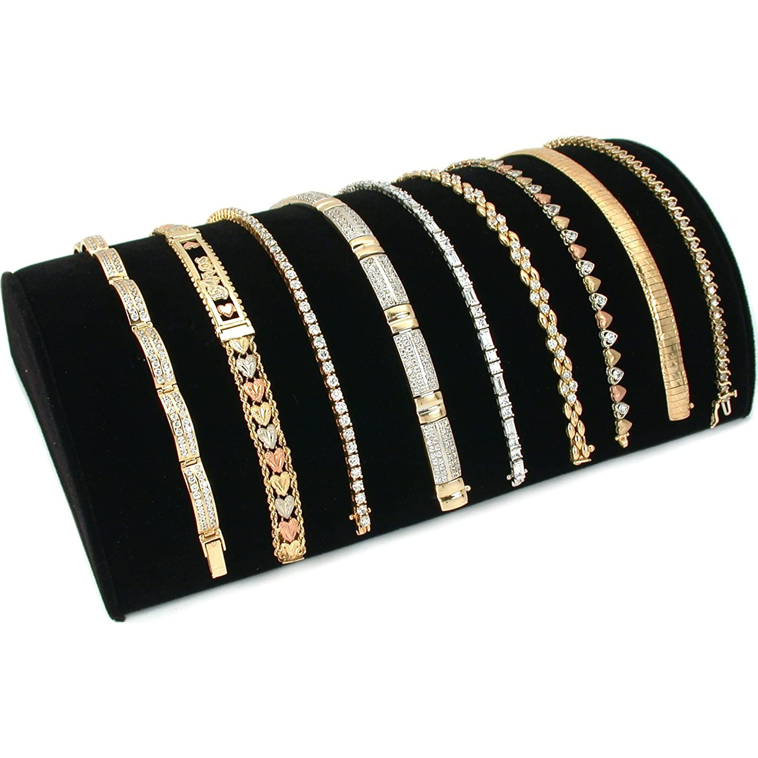 Black Velvet Half Moon Bracelet Showcase Display Stand Bejeweled Display 230BK