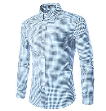 NUTEXROL Men Plaid Cotton Casual Slim Fit Long Sleeve Button Down ...