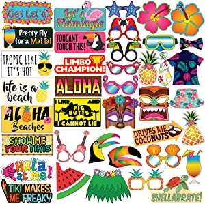 Sterling James Co. Luau Party Photo Prop Set - 40 pcs - Hawaii - Aloha -Tropical - Tiki - Summer Themed Beach and Pool Party Decoration, Favors & Supplies