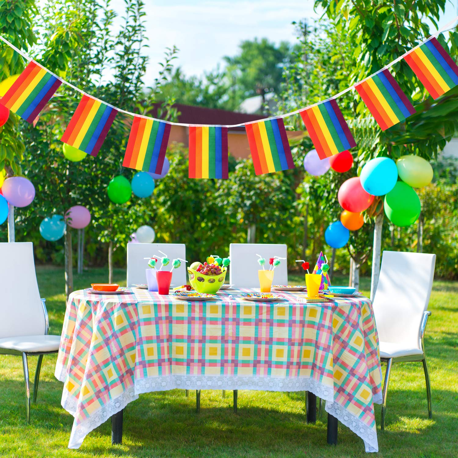TRIXES 10M Rainbow Bunting Multicoloured String Garland Decoration for LGBT Pride Events 38 8 x 5in Rectangular Flags