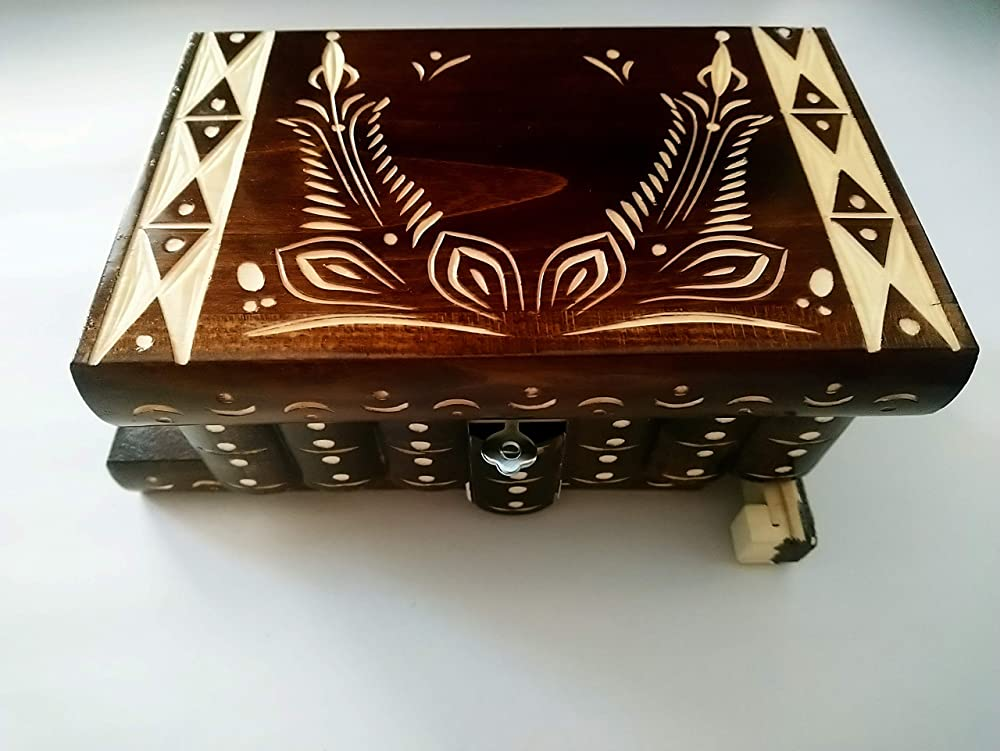 Caja puzzle nuevo grande marrón personalizable caja de joyas talladas caja mágica misterio caja de madera rompecabezas caja secreta trinket complicado cajón de madera caja escondida: Amazon.es: Handmade