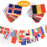 Esjay 32 Countries String Flag Banners-11m,30 x 20cm(2Pack) Large Size for 2018 Russia World Cup,Football Night,Sports Clubs,Grand Opening,Garden Banners and Bar Party Decorations
