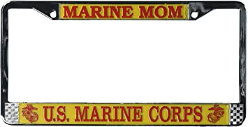 MY SON IS A MARINE PARENTS MILITARY License Plate Frame Stainless
