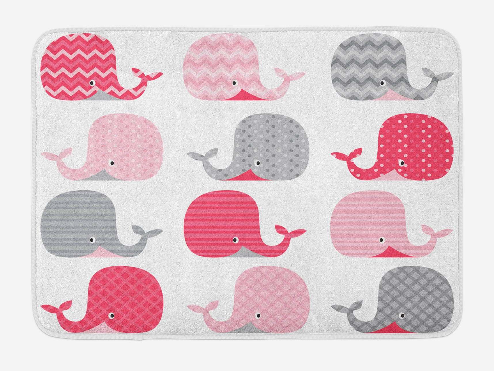 Lunarable Whale Bath Mat, Cute Patterned Whales Design with Oceanic Animals Aqua Wildlife Theme, Plush Bathroom Decor Mat with Non Slip Backing, 29.5 W X 17.5 W Inches, Pink Grey and Pale Pink