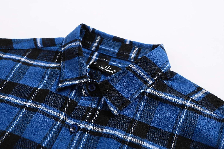 Emiqude Mens Stylish Flannel Cotton Slim Fit Long Sleeve Plaid Dress Shirt
