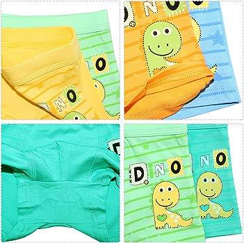 Espoy Boys Underwear Dinosaur Kids Boxer Brief Shorts Striped Toddler Trunk 3-10 Year