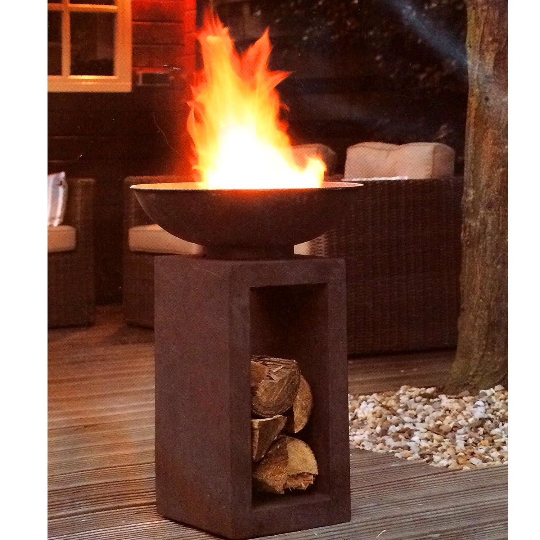 HOT Moderne Feuerschale Feuerkorb Feuerstelle aus Gussstein Ø 39,5cm H68,5 Riyashop