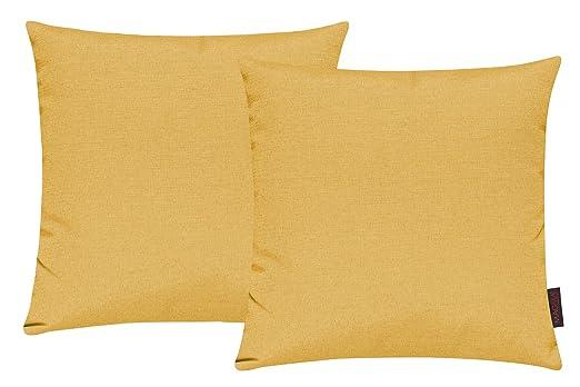 Fino Funda de cojín Aprox. 40 x 40 cm alta calidad & plegado en 30 multicolor Colores (Juego De 2) - algodón mezcla, 40 Amarillo, 40 x 40 cm, ...