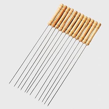 buydirect reutilizable de acero inoxidable mango de madera Metal brochetas para barbacoa Twisted Metal Kabab Sticks para barbacoa y cocina Set de 12: ...
