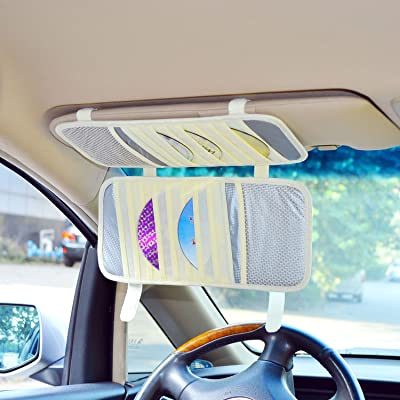 TFY Car Visor Organizer. Triple-Layer, 30 CD/DVD Disk Storage Holder - Beige: Home Audio & Theater [5Bkhe2011712]