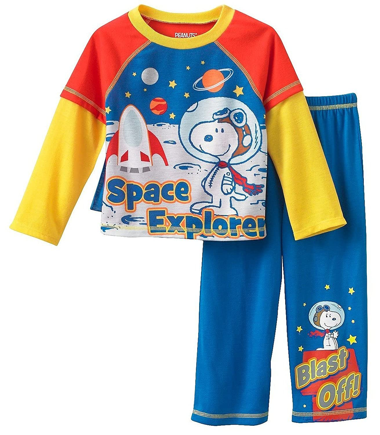 Peanuts Snoopy Space Explorer Toddler Layered Boys Pajama with Cape, Sizes 2T-4T Size 2T
