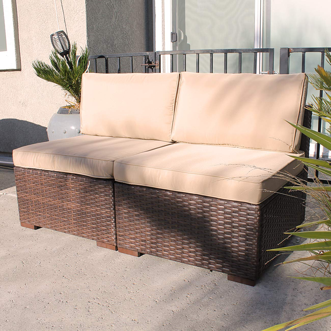 Patiorama Outdoor Loveseat, 2 Piece All Weather Brown Wicker Patio Chairs, Beige Velcro Cushion