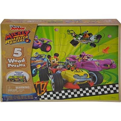 United Pacific Design Mickey Mouse Roadsters 5pk Wood Puzzle Standard: Kitchen & Dining