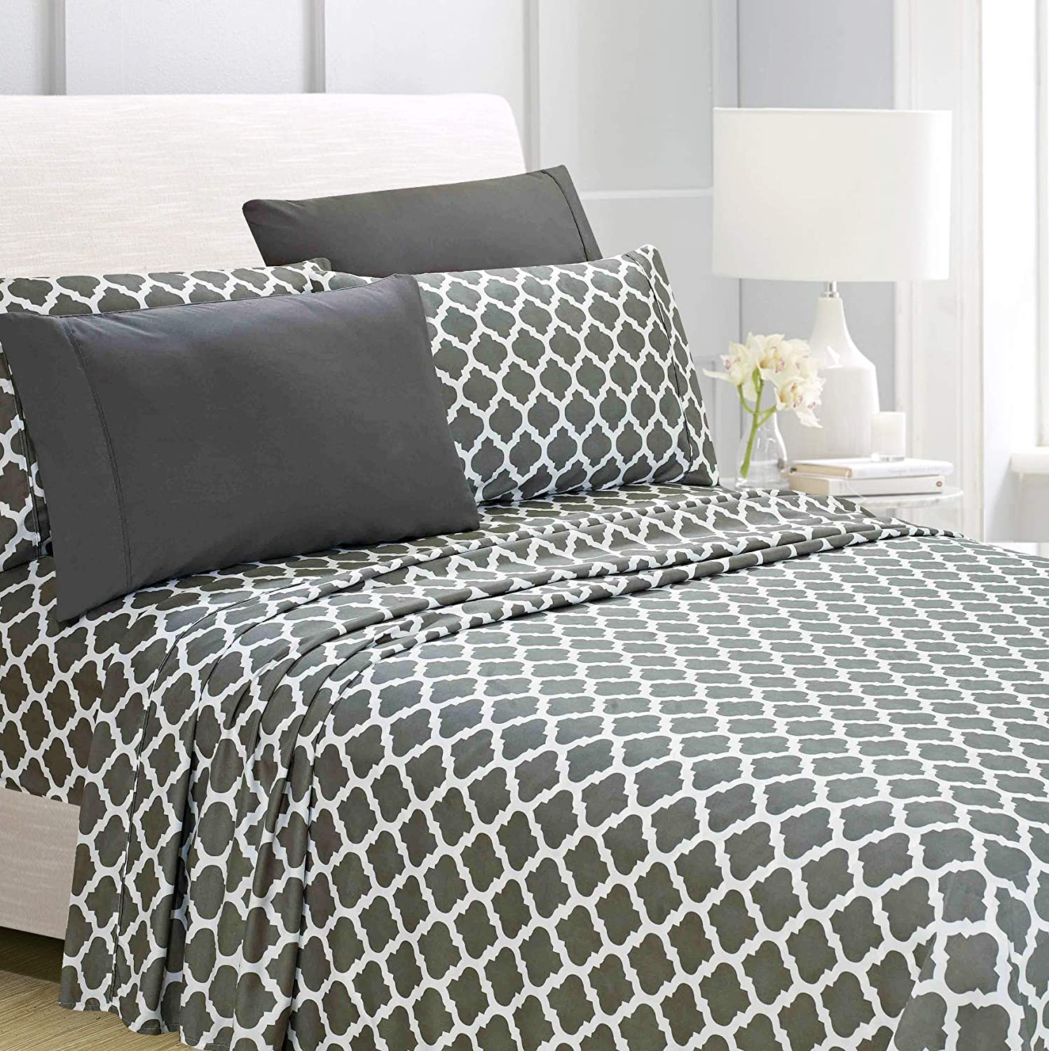"American Home Collection 4 Piece Bed Sheet Set Super Soft Brushed Microfiber - 14"" Deep Pocket - Wrinkle Resistant - Hypoallergenic (Twin, Gray Quatrefoil)"