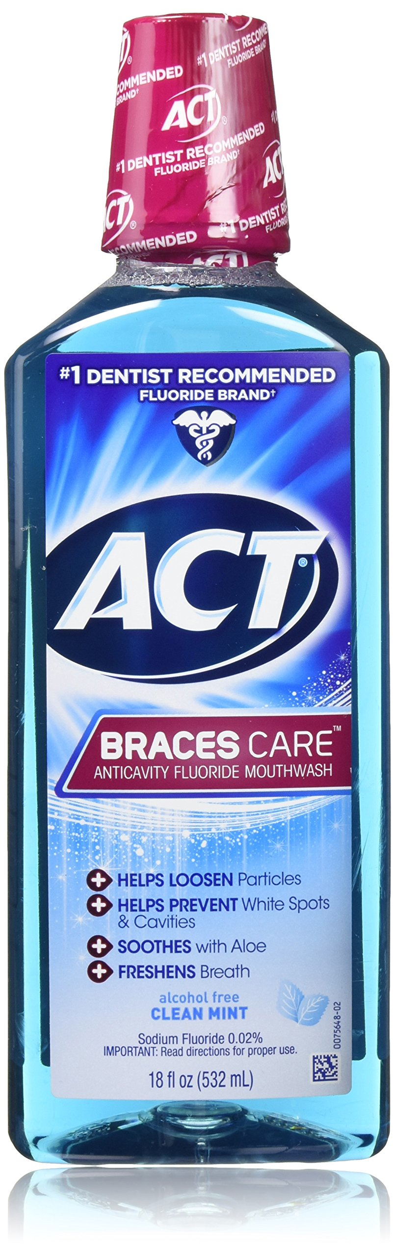 Act Braces Care Anticavity Flouride Mouthwash 18 Ounce 2 Pack